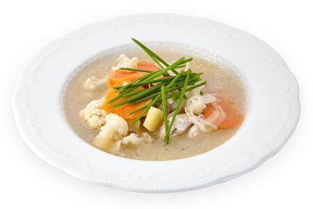 Легкий овощной суп с куриными фрикадельками