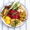 Фото к позиции меню Соленья: патиссоны, капуста,огурцы, чеснок, помидоры