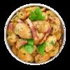 Фото к позиции меню Картофель с грудинкой и чесноком