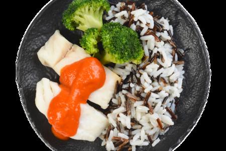 Филе-кусок трески атлантической на пару с соусом томато