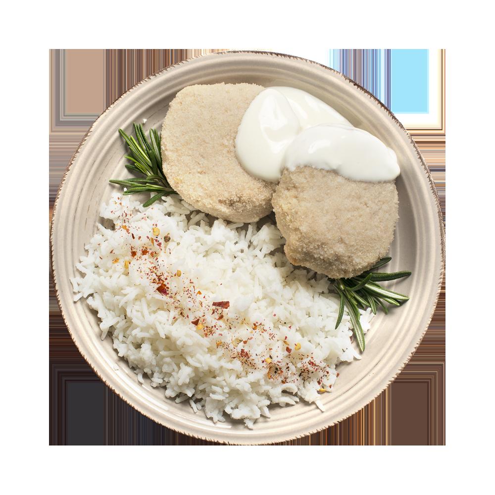 Биточек из индейки запеченный с рисом