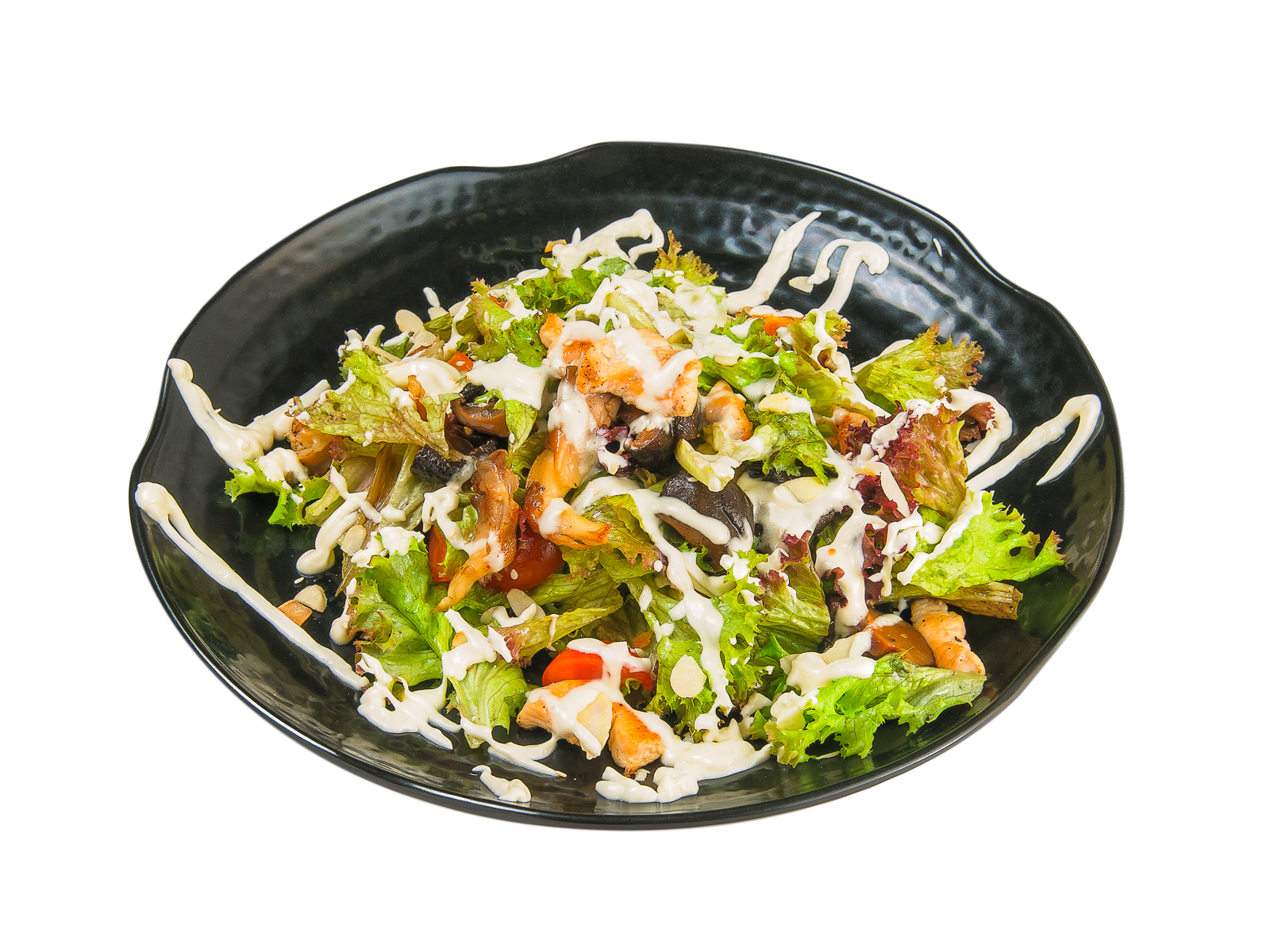 Салат с жареным куриным филе и грибами