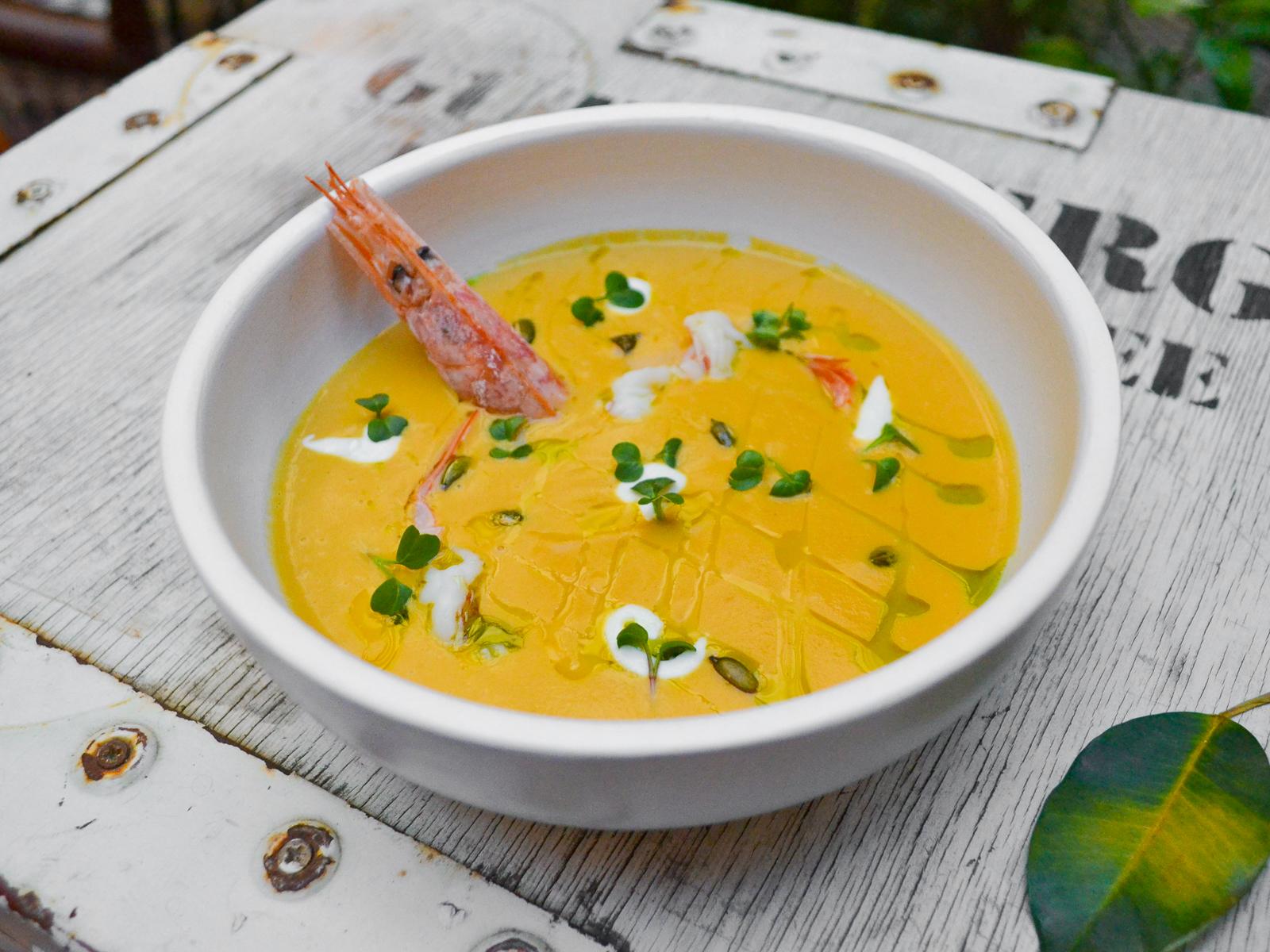Крем-суп из печеной тыквы с лангустином