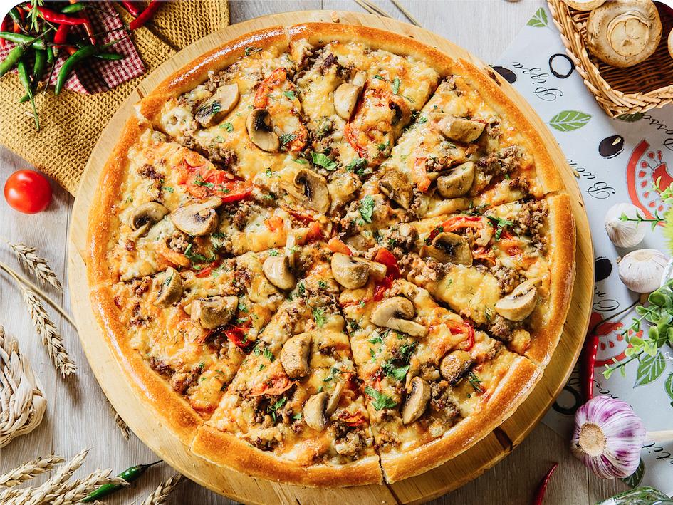 Пицца Мясная с грибами