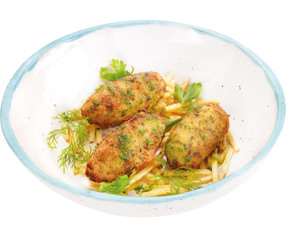 Котлетки из трески Bacalhau Assado с картофельными чипсами