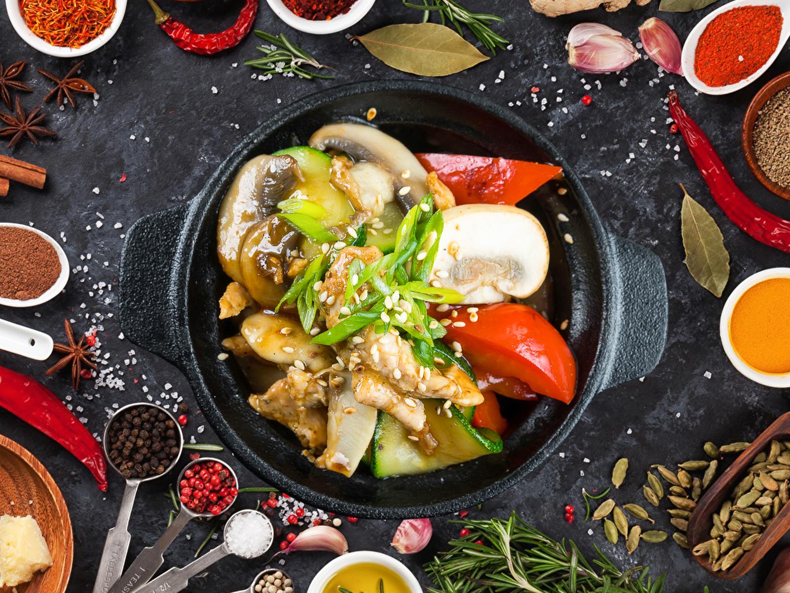 Курица с шампиньонами в соусе Терияки
