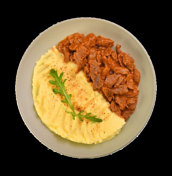 Мясные кусочки с картофельным пюре