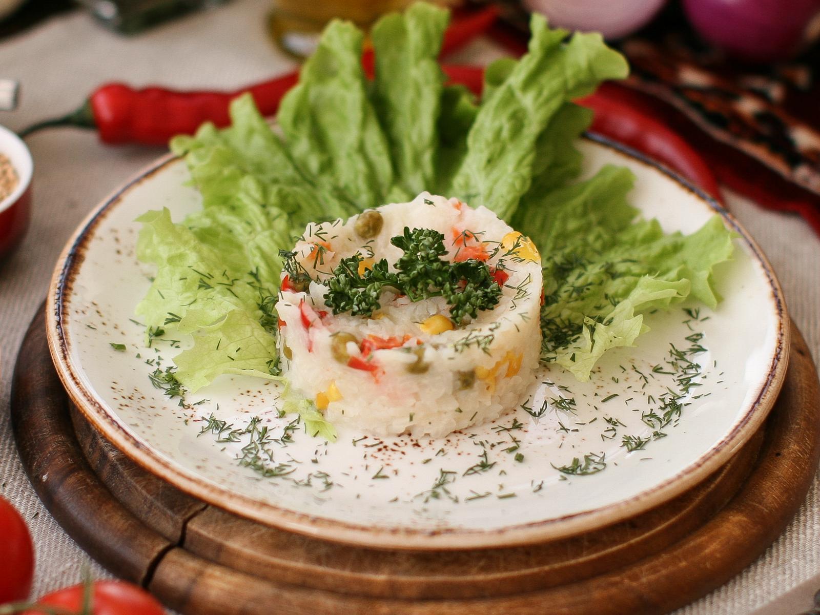 Рис отварной с овощами