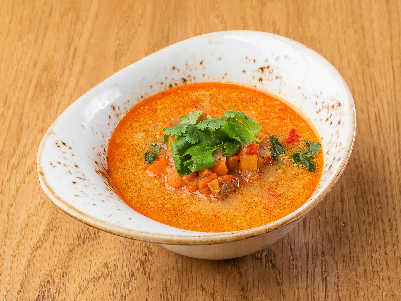 Пряный густой суп из баранины с овощами