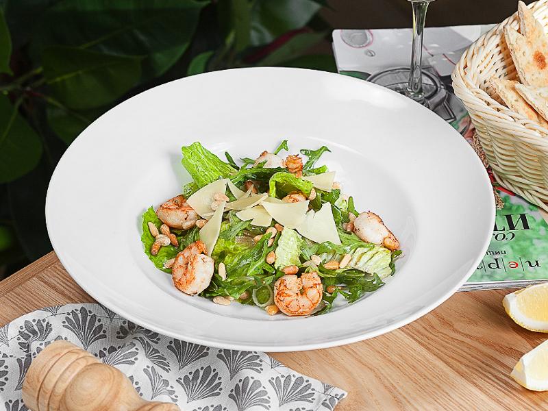 Грин-салат с креветками