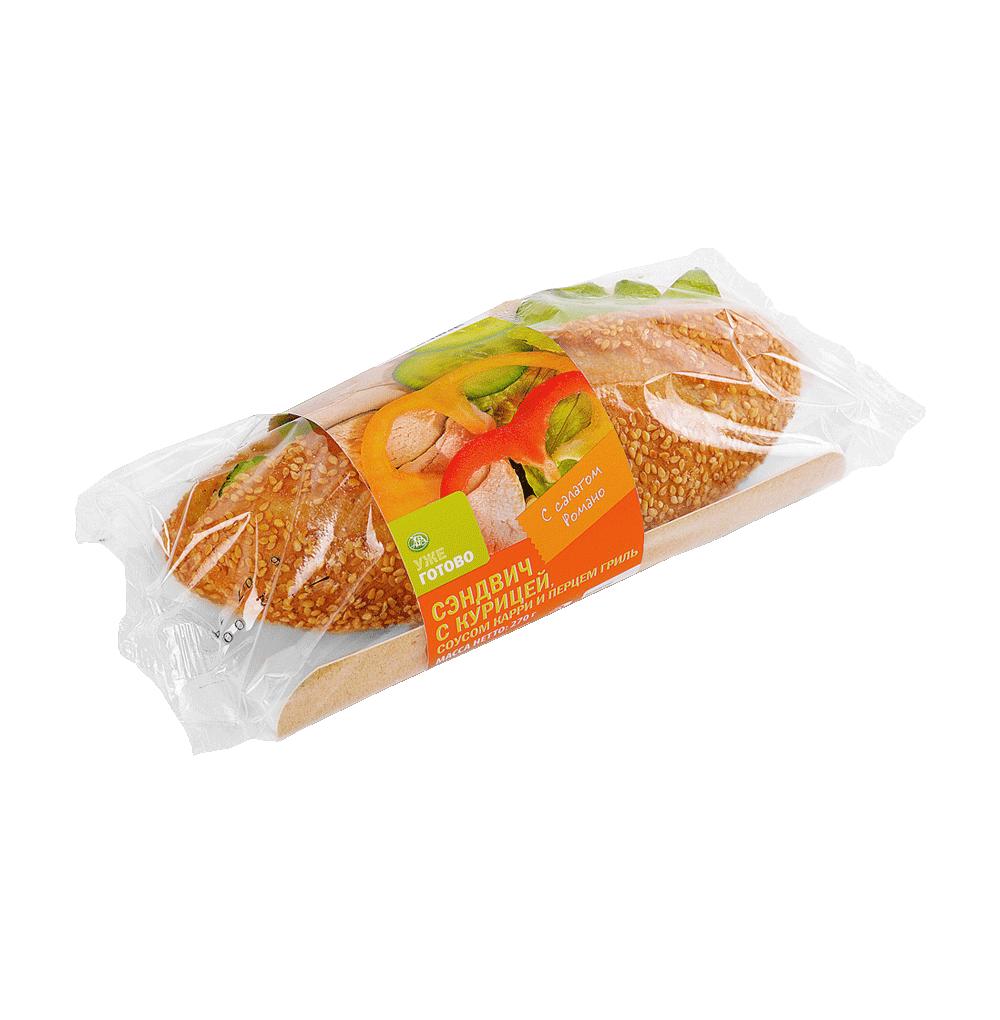 Сэндвич с курицей соусом карри и перцем гриль