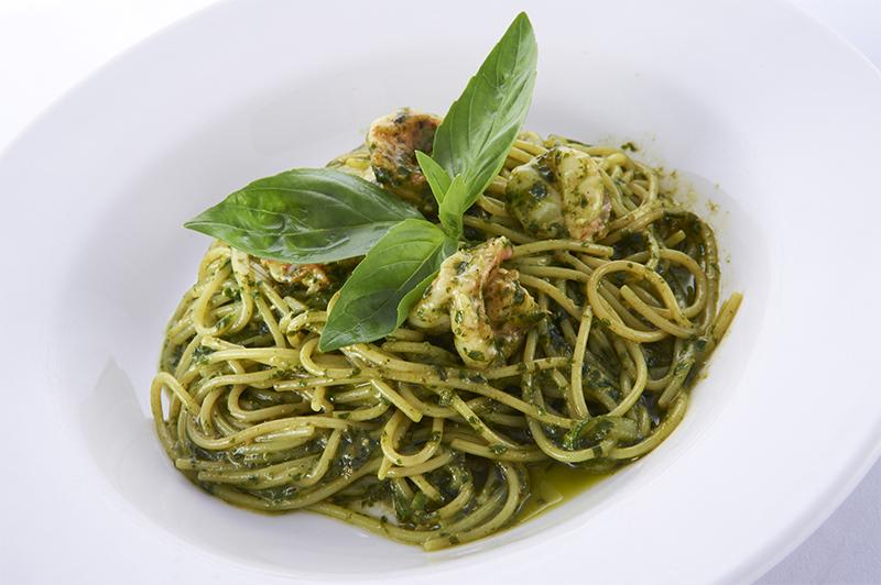 Спагетти с тигровыми креветками