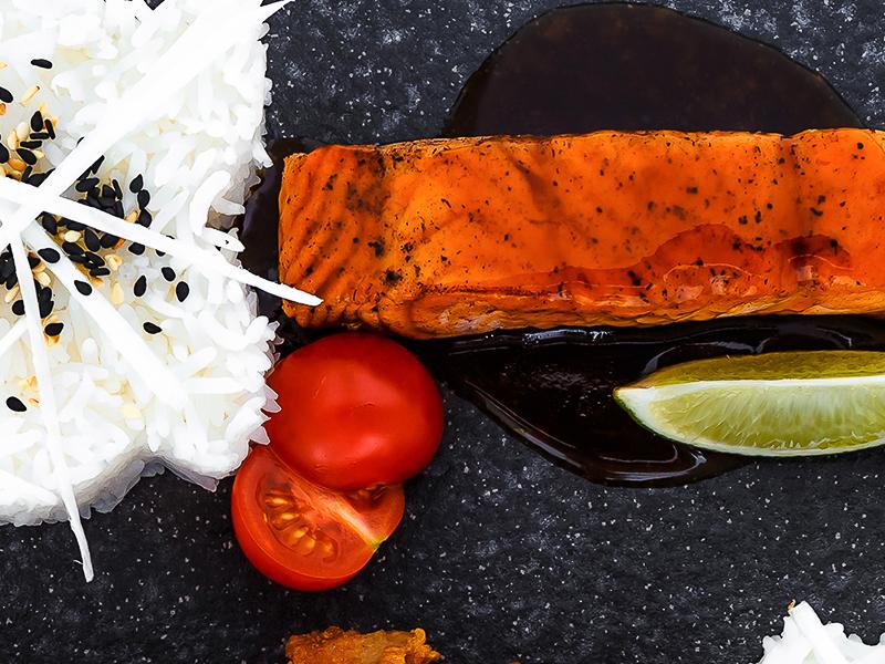 Лосось терияки с рисом жасмин