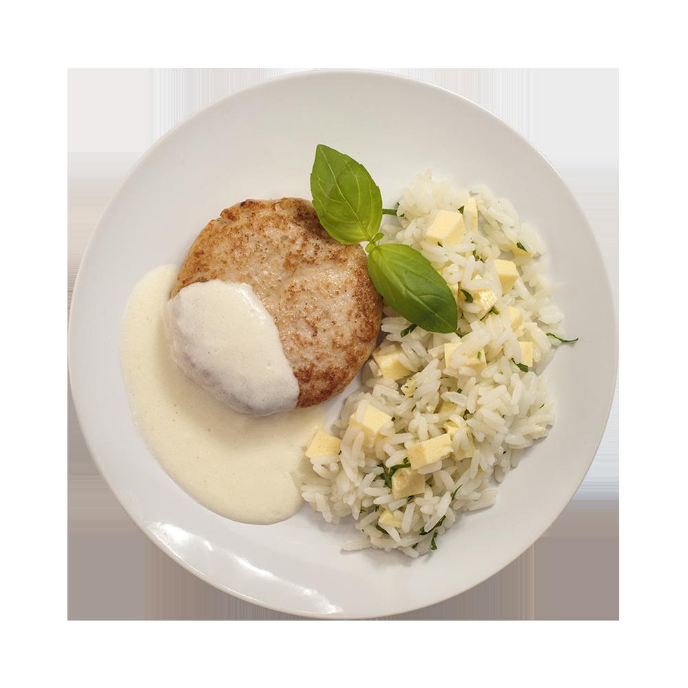 Биточек куриный с гарниром из риса и омлета с соусом велюте