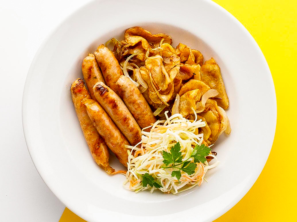 Колбаски куриные с картофелем