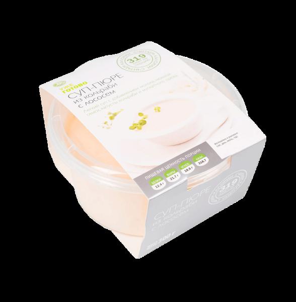 Суп-пюре из кольраби с лососем