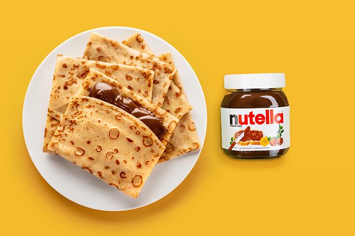 5 Блинов с маслом и банка Nutella 180г