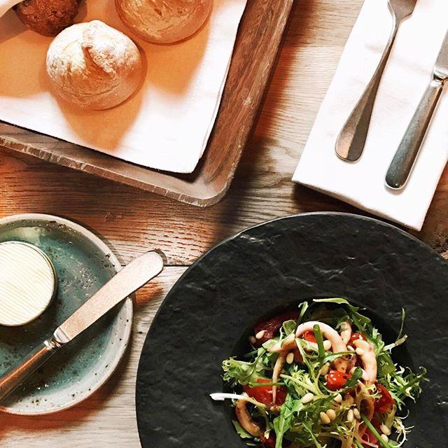Салат с щупальцами командорского кальмара в горчичном соусе