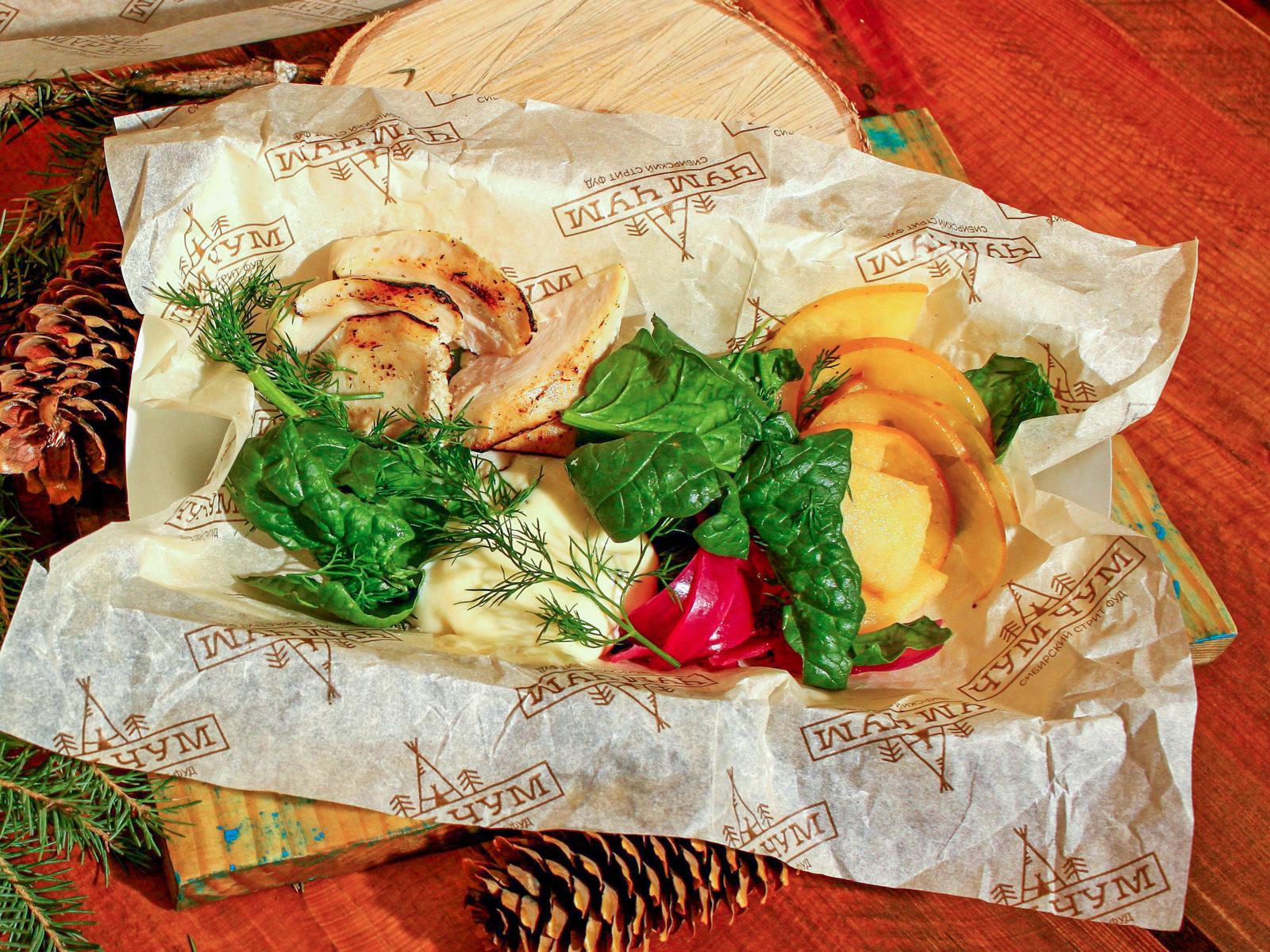 Салат с цыпленком су-вид
