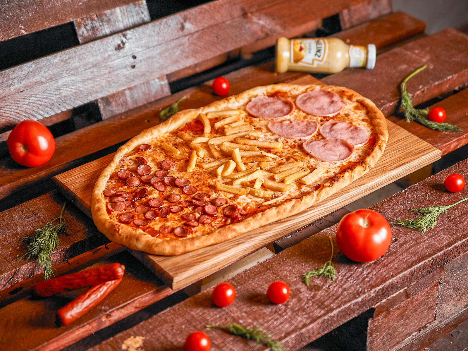 Пицца Студенческая полуметровая