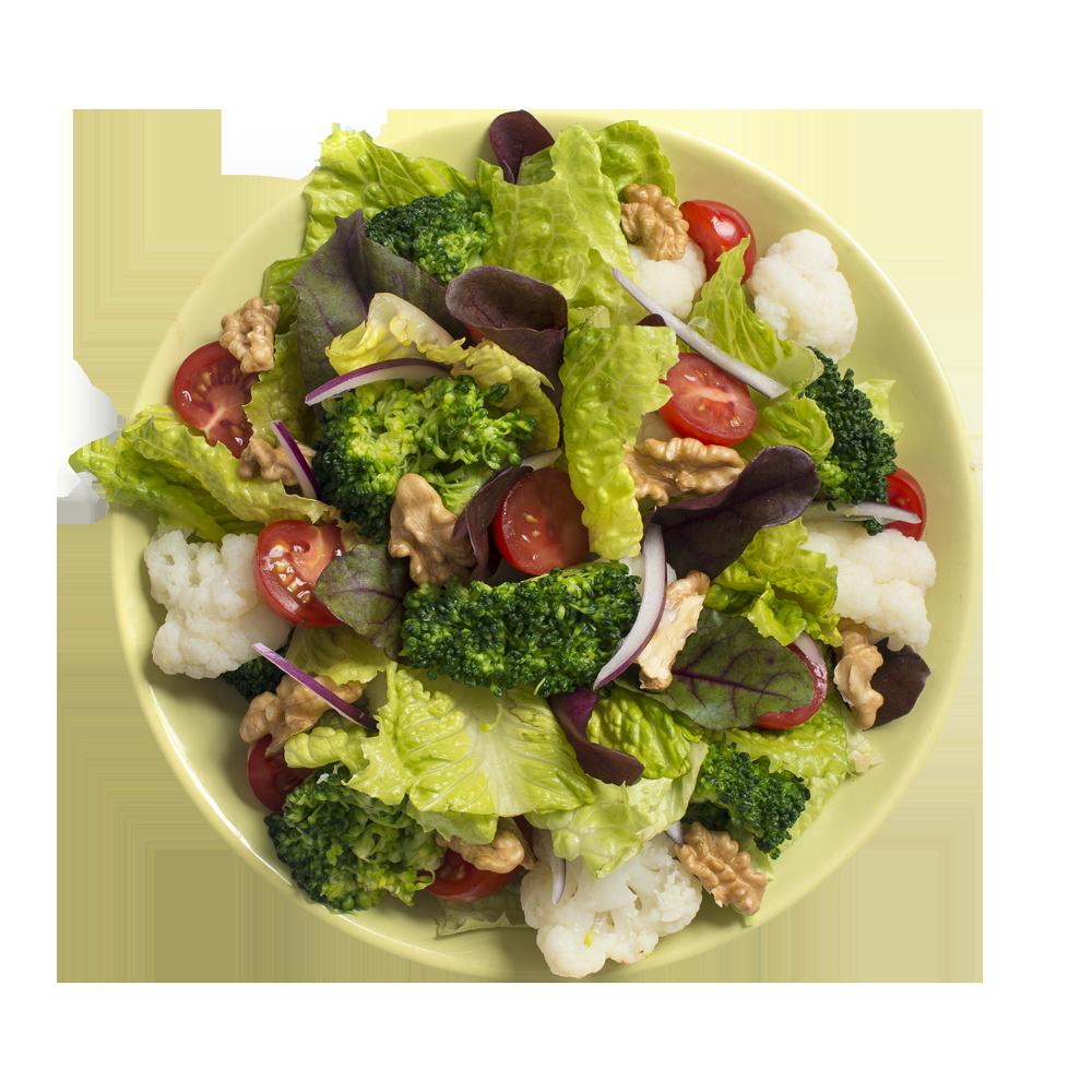 Салат-боул с цветной капустой, брокколи и грецким орехом