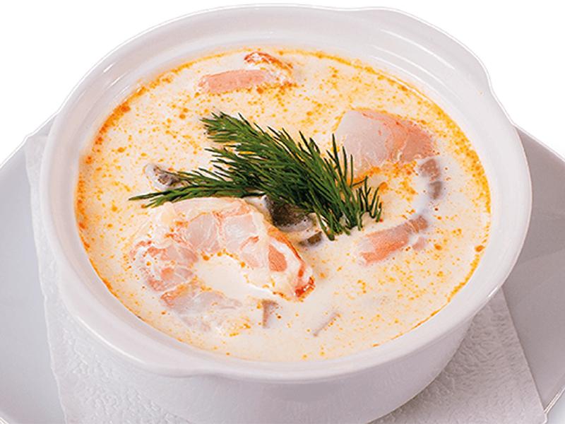 Сливочный суп с тигровыми креветками