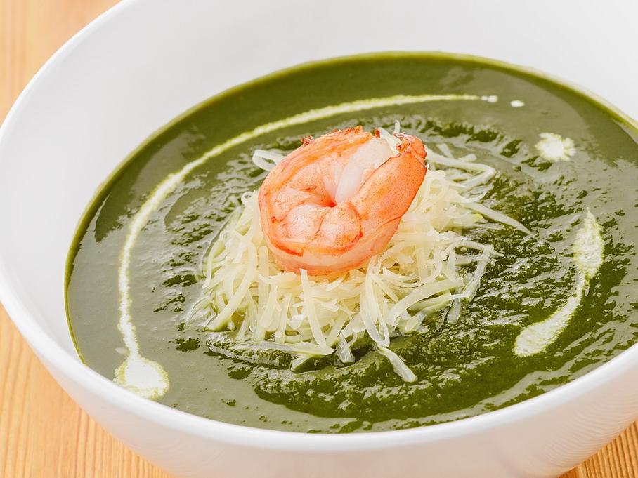 Суп-крем из шпината с креветками