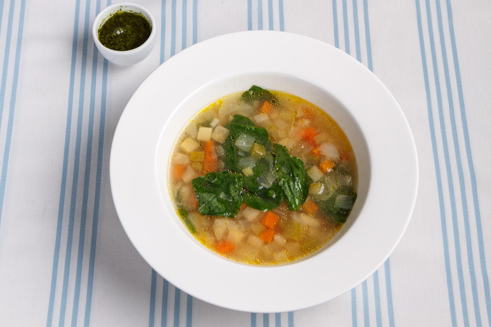 Овощной суп со шпинатом