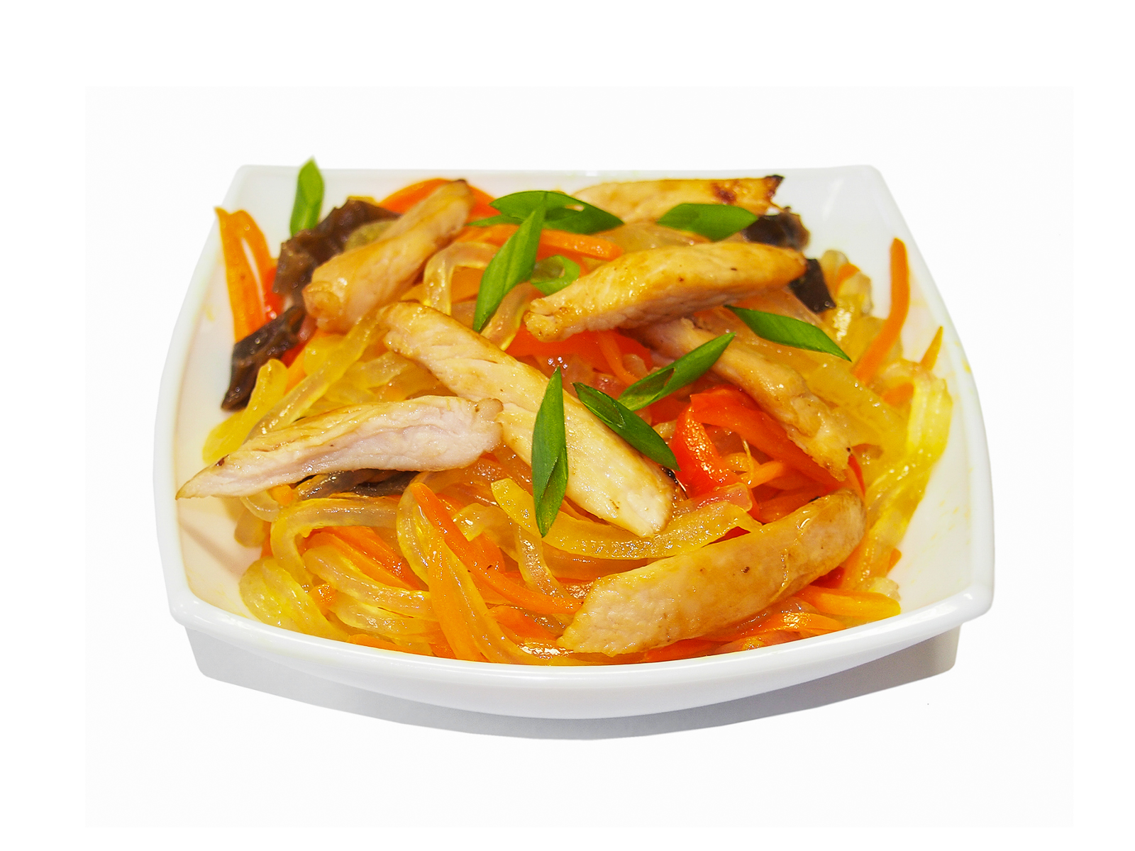 Харусаме с курицей в сливочно-чесночном соусе