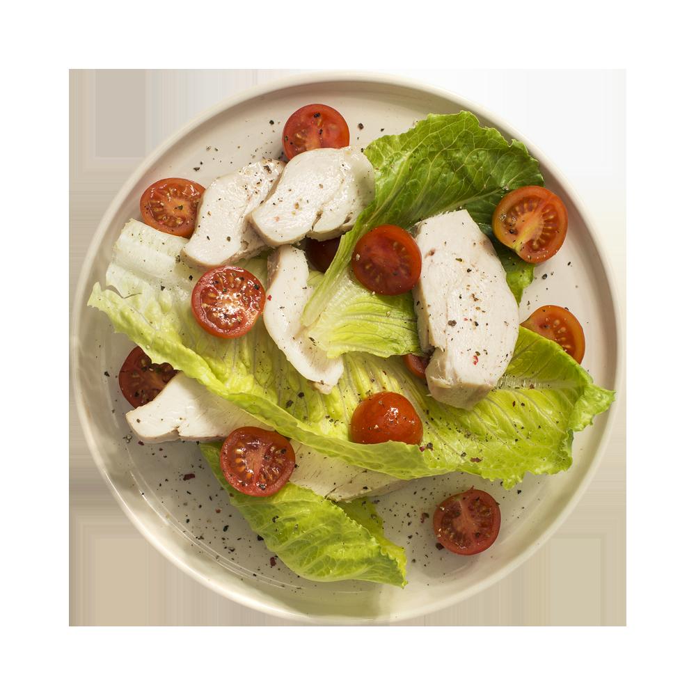 Филе куриное отварное с листовым салатом и помидорами черри