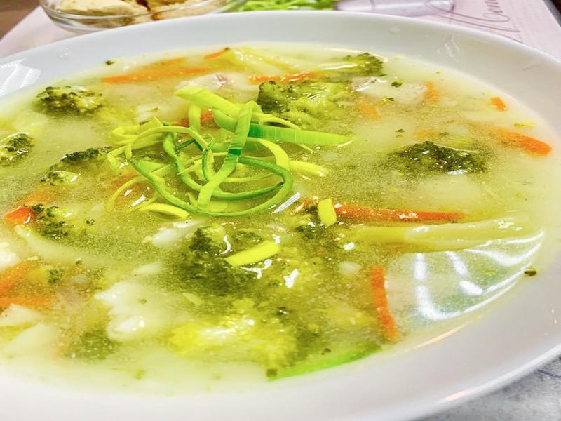 Суп из брокколи с треской
