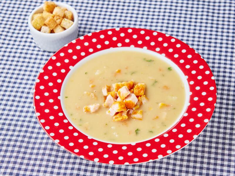 Суп гороховый с копченностями и сухариками