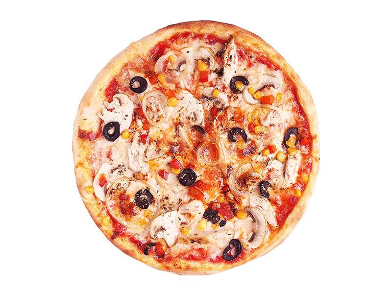 Пицца с копченой курицей и грибами