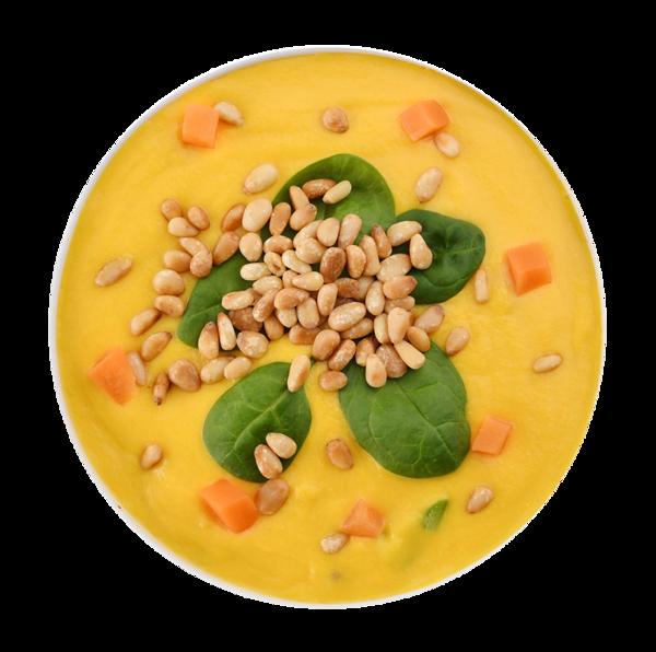 Суп кукурузный со шпинатом и кедровыми орешками