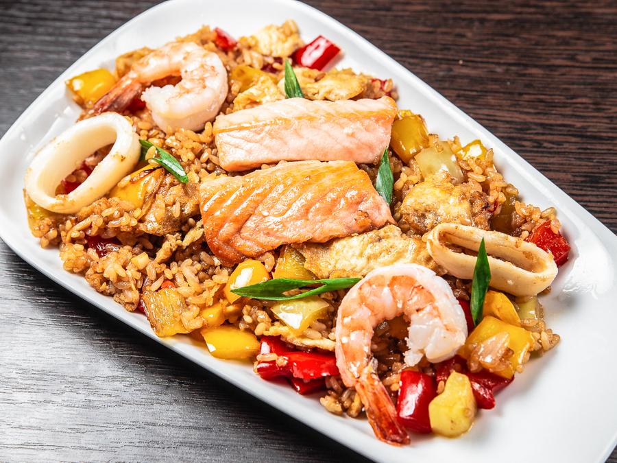 Теппаньяки Рис с морепродуктами