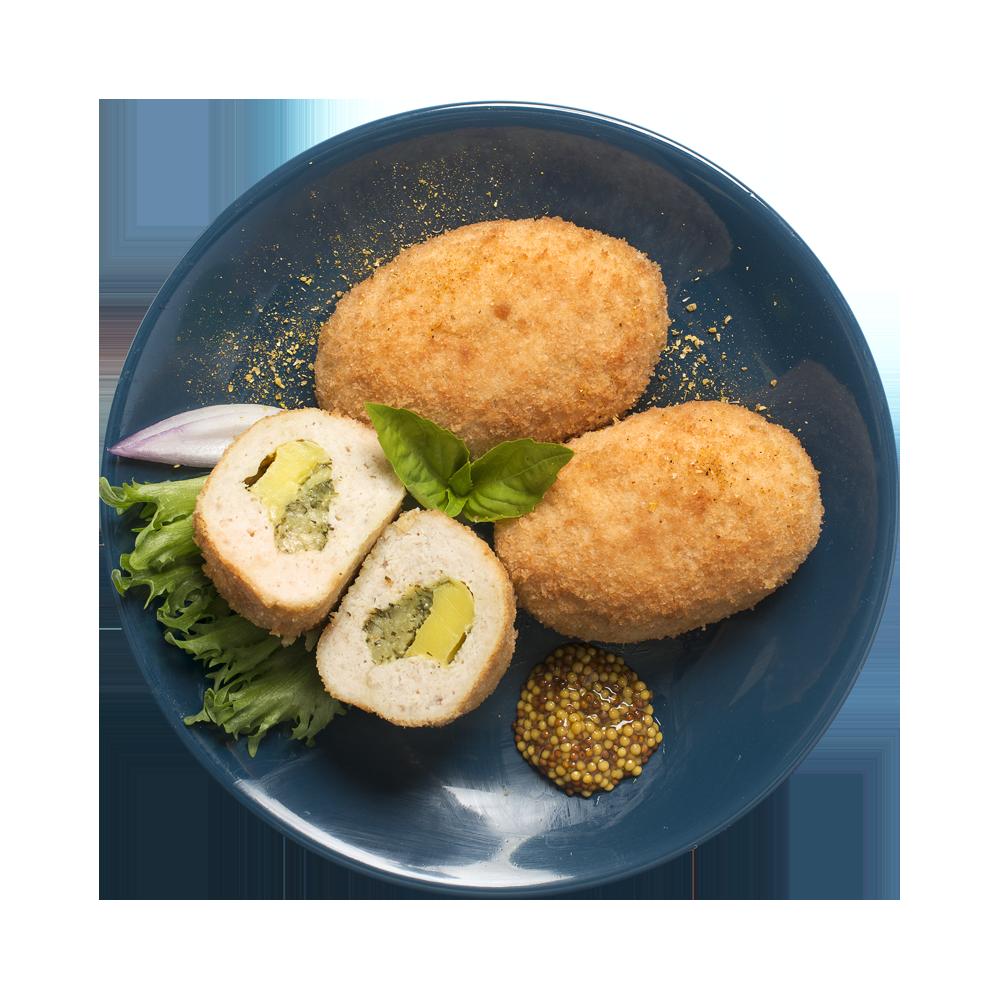 Кнели мускатные из куриного филе с зеленым маслом
