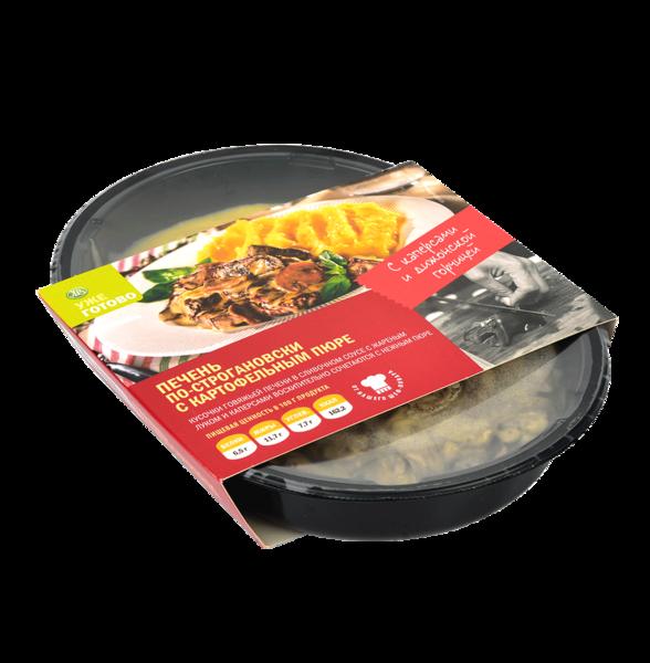 Печень по-строгановски с картофельным пюре