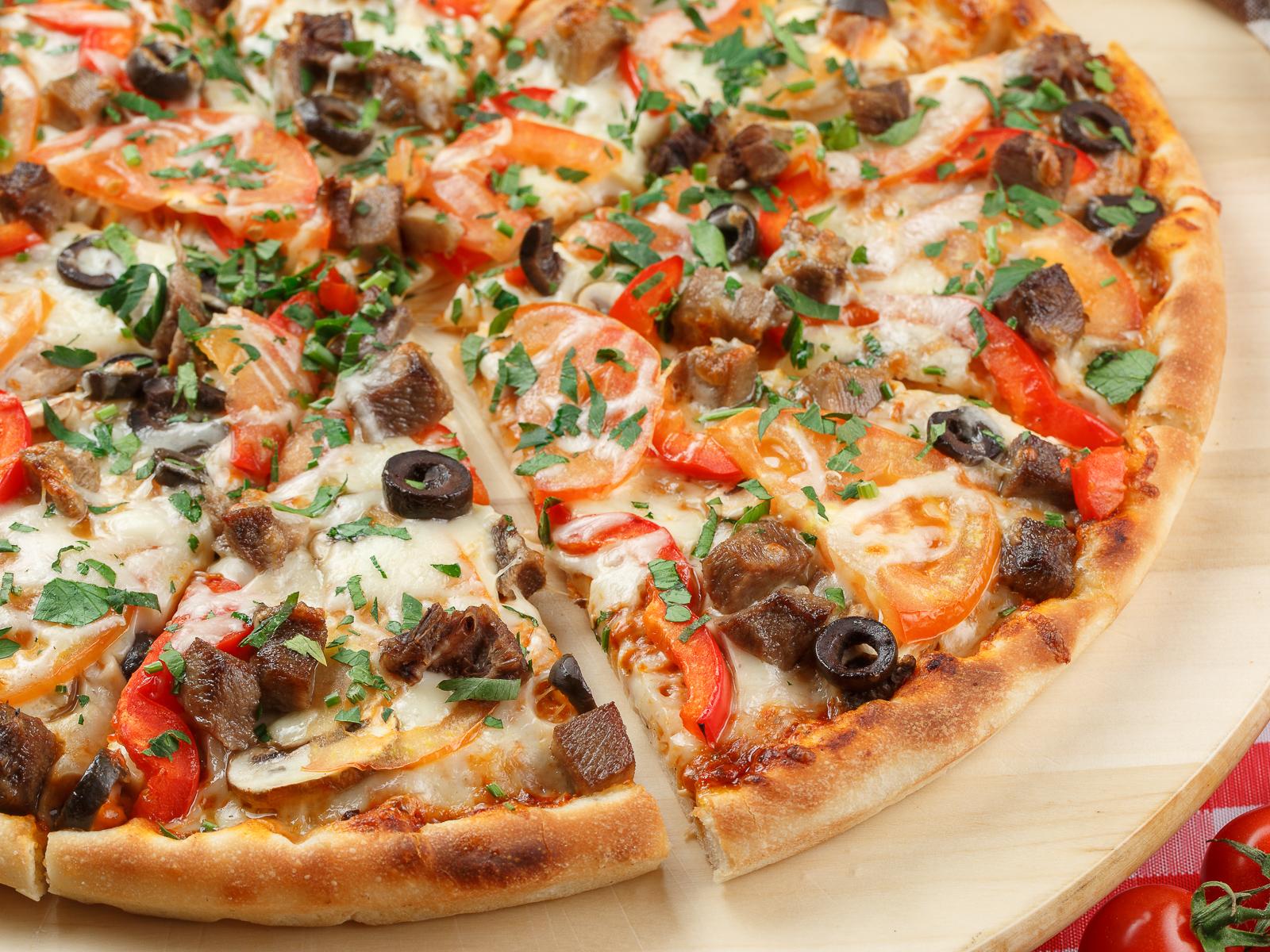 Пицца с телячьим языком