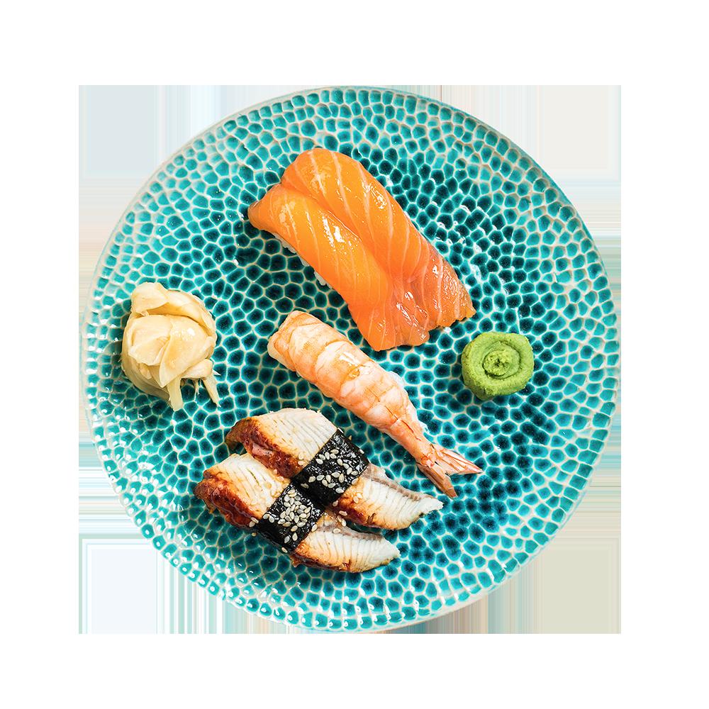 Суси-сет с лососем, угрем и тигровой креветкой