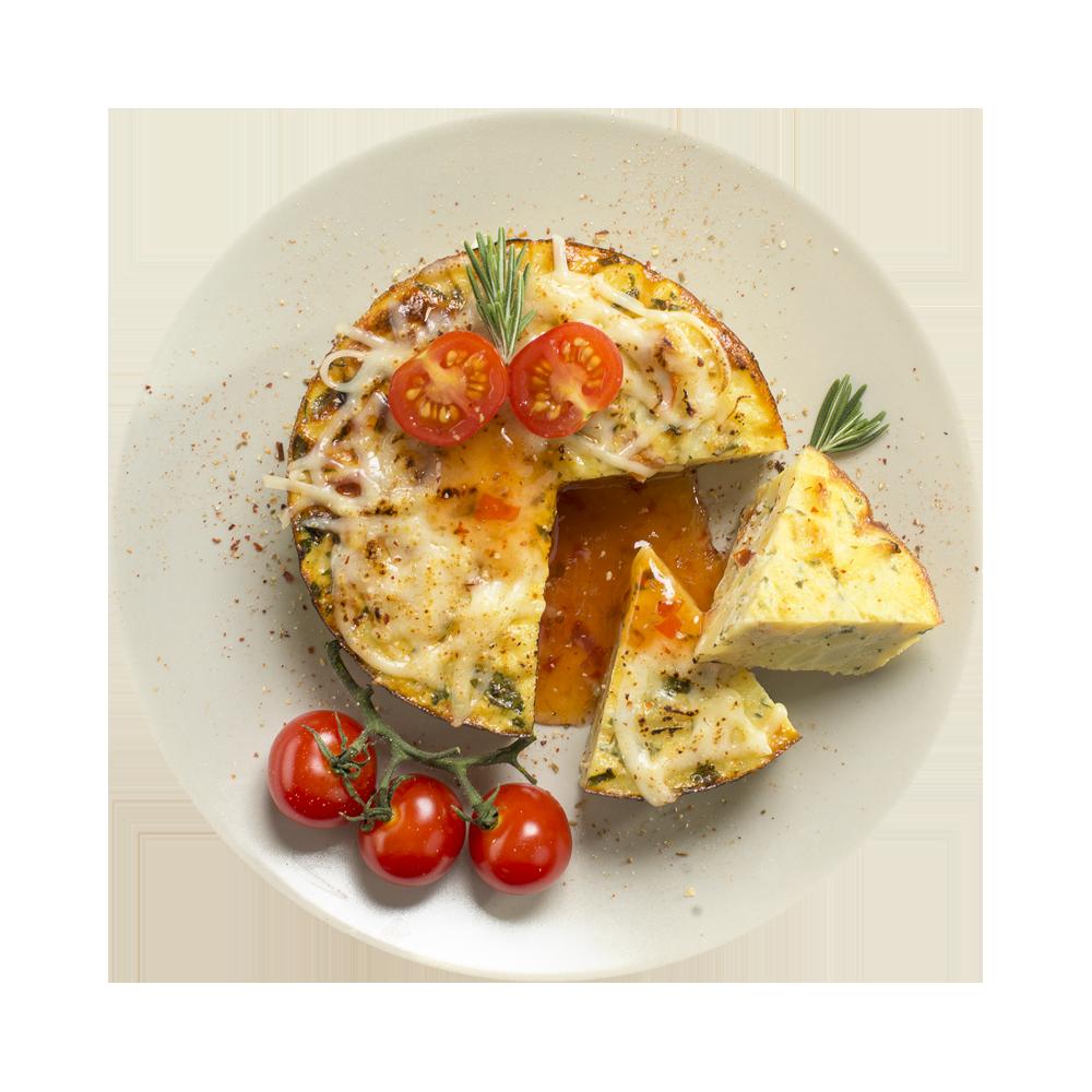 Картофель, запеченный с яйцом и помидорами