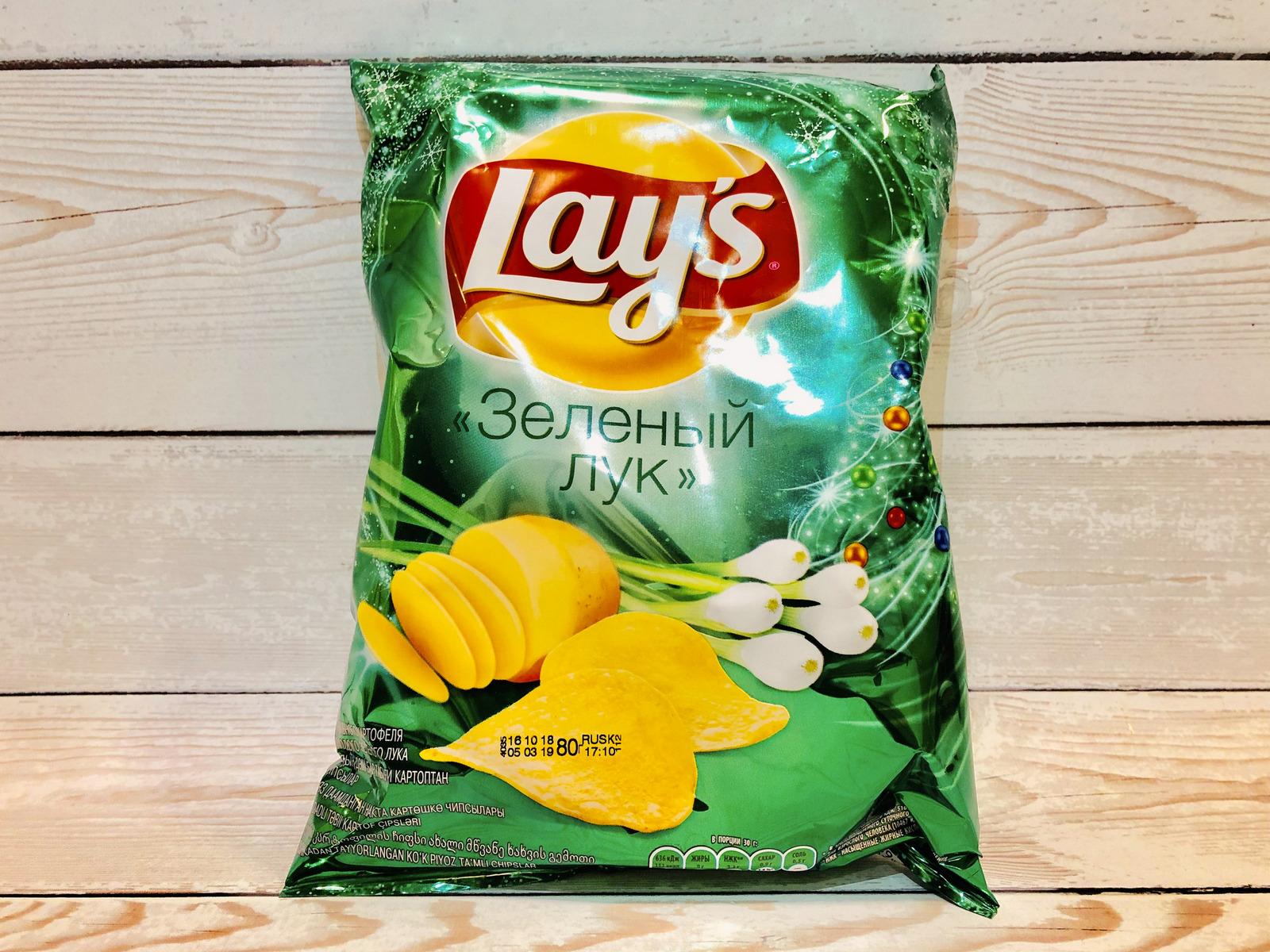 Чипсы Lays со вкусом зеленого лука