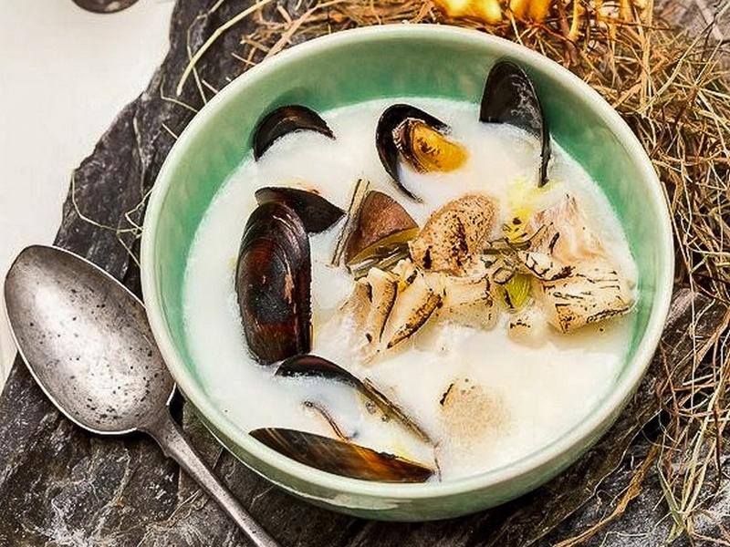 Суп Беломорский с треской, ламинарией и мидиями