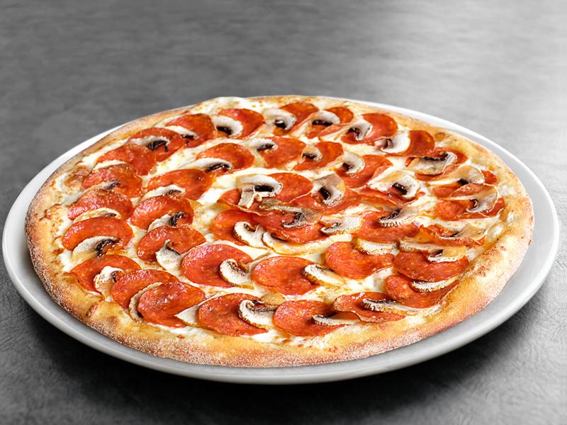 Пицца Пепперони и грибы средняя