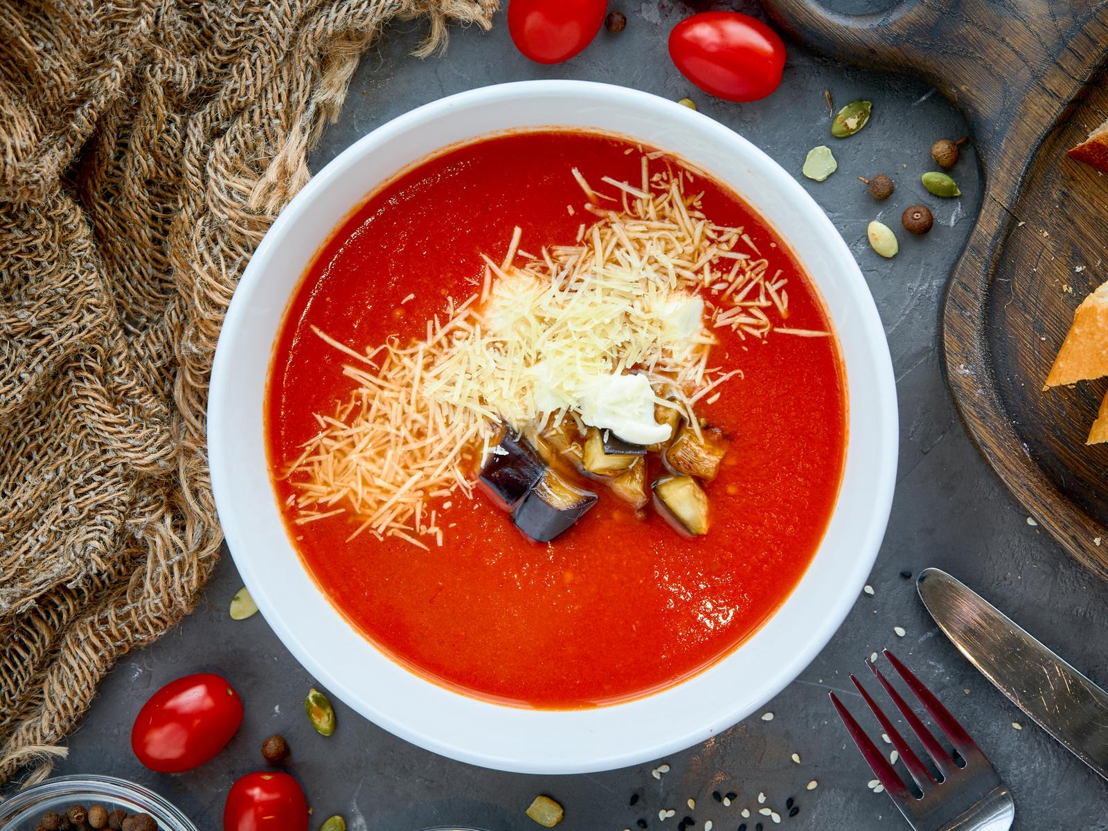 Суп Томатный с запеченными баклажанами