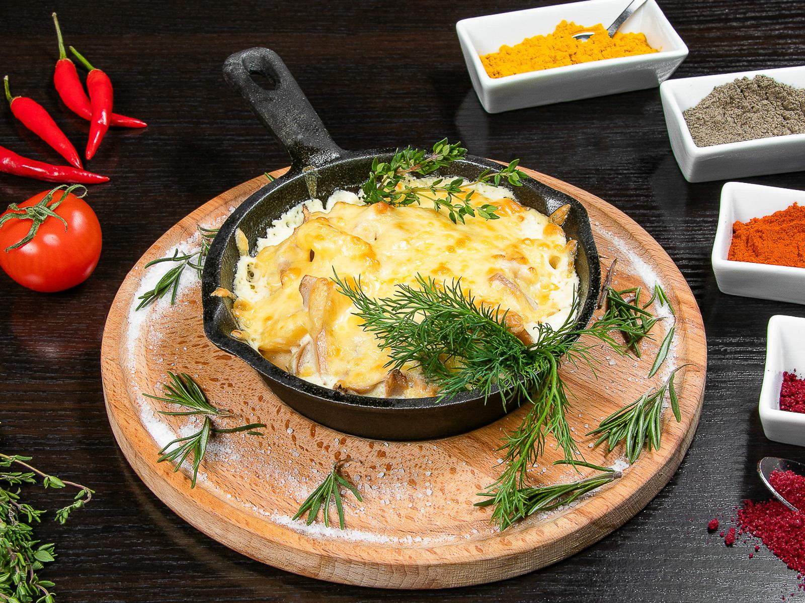 Грибы с сыром и картофелем