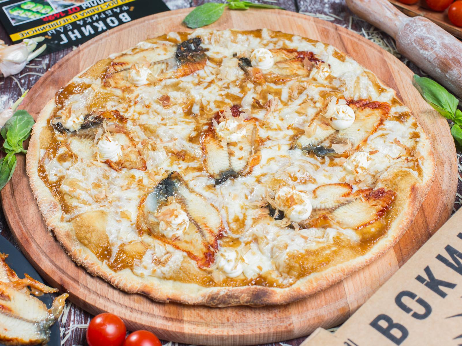 Пицца Сладкий угорь на толстом тесте