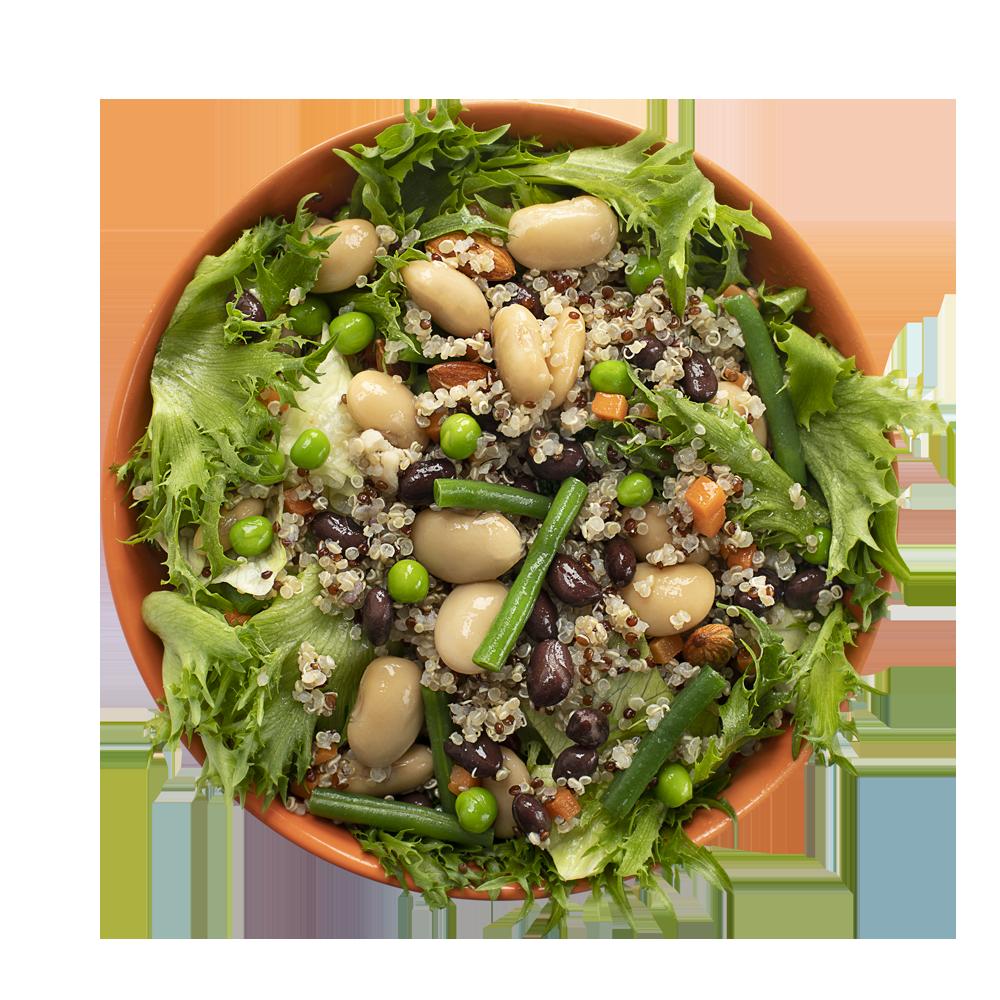 Салат-боул с киноа, черной фасолью и зеленым горошком