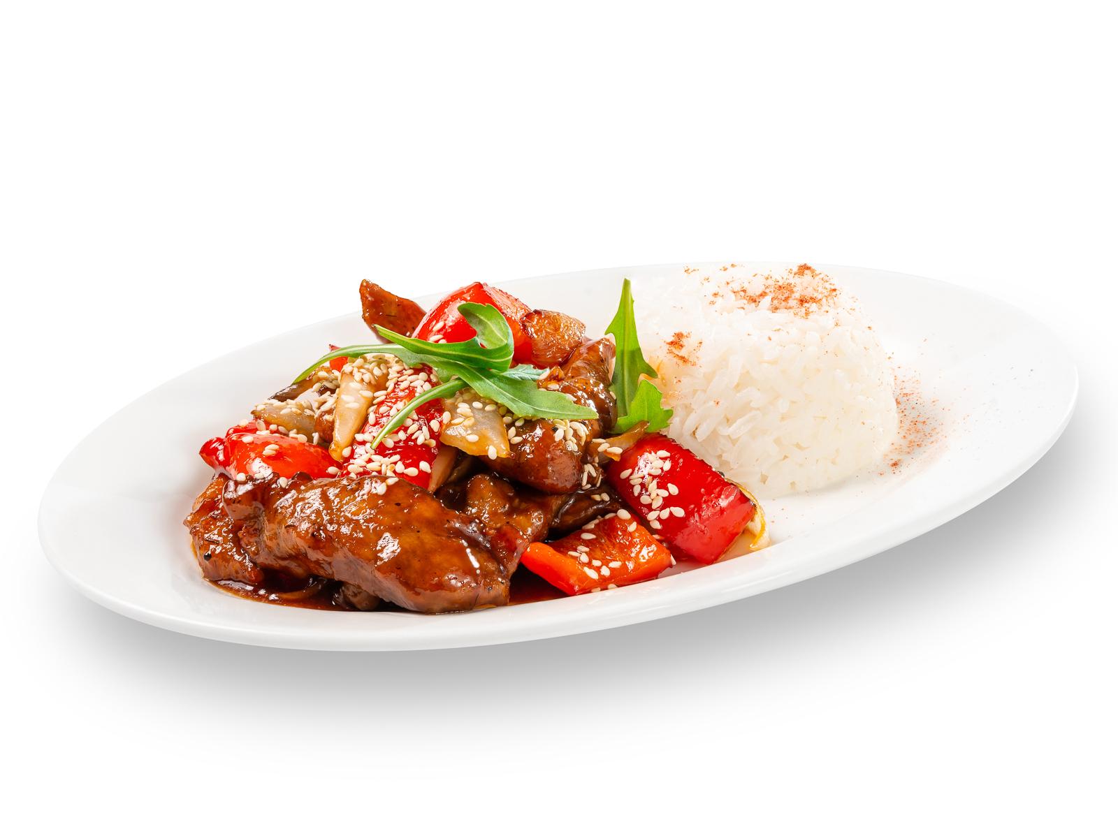 Свиная вырезка в кисло-сладком соусе с рисом