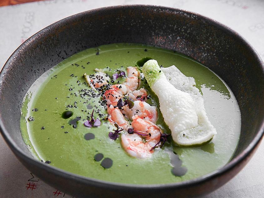 Крем-суп из кабачков и шпината