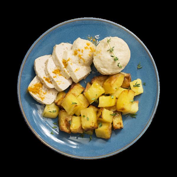 Суфле из кролика и курицы паровое с запеченным картофелем